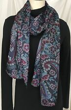 TALBOTS Women's Large Fashion Silk Scarf Navy Blue Floral Pattern New With Tags