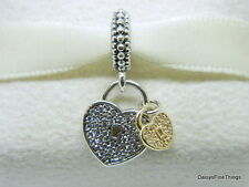 NEW! AUTHENTIC PANDORA CHARM LOVE LOCKS DANGLE 14K #791807CZ  HINGED BOX