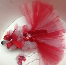DOG DRESS RED WHITE XXXS Tutu DRESS TINY PUPPY PET CAT CLOTHES PARTY WEDDING
