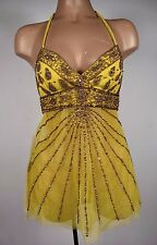 MARCIANO Sexy Beaded Embroidery Braided Neck Tie Sleeveless Halter Club Top XS