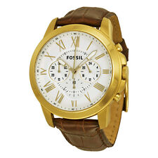 Fossil Grant Chronograph Silver Dial Gold-Tone Stainless Steel Mens Watch FS4767
