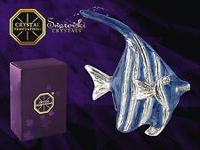 G 4539 Silber Fisch Fish Blau Setzkasten Swarovski Glas Kristall Crystal 3,7 cm