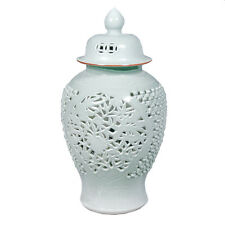 Celadon Lotus Carving Handmade Porcelain Temple Jar