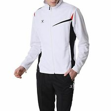 Fuerza Mens High Quality Outdoor Indoor Jacket Pants Knit Tracksuit - White - L