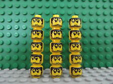 15 New Lego Mini Figure Heads Mini Figs Black Messy Hair Angry Crafts Jewellery