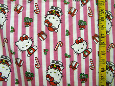 HELLO KITTY PINK CHRISTMAS  STRIPES 100% COTTON FLANNEL FABRIC BY THE 1/2 YARD