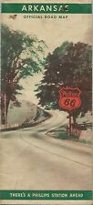 1939 PHILLIPS 66 Road Map ARKANSAS Ferry Crossings Red Cross First Aid Stations
