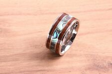 10mm Titanium Koa Wood with Abalone Shell Ring