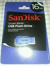 SanDisk Cruzer Blade 16GB USB 2.0 Flash Memory Pen Drive Thumb Stick blue
