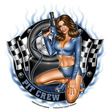 Pit Crew Girl Aufkleber Decal Sticker Rockabilly Old School Dead Head  MC Pin Up
