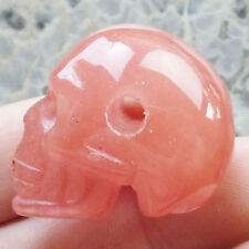 W0053078 Carved Red Cherry Quartz Skull Pendant Bead