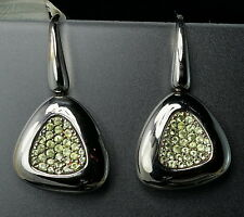 $880 Roberto Coin Capri Lime Green Quartz Silver Rhodium Blackened Earrings New