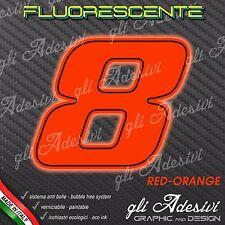 Adesivo Stickers NUMERO 8 moto auto cross gara Rosso FLUORESCENTE 10 cm