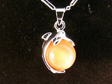 18k White Gold Plated Sun Kissed Orange Opal Dolphin  Necklace
