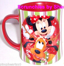 Disney Store Coffee Mug Mickey Minnie Pluto Christmas Red Candy Holiday Retired