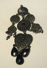 Lovely bronze tone metal pendant with various beads and charms