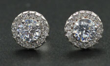 JM63 1.50ct Round Brilliant Lab Diamond Halo Stud Earrings 14k Solid White Gold