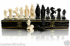 "GREAT ''VIKINGS'' CHESS SET 42cm/16"" WOODEN CHESSBOARD & PLASTIC PIECES !!!"