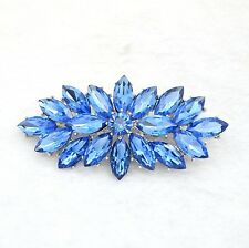 Vintage Style Blue Crystal Flower Bouquet Party Prom Wedding Brooch Pin BR331