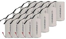 20x Sub C SubC With Tab 6000mAh 1.2V Ni-MH Rechargeable Battery White High Power