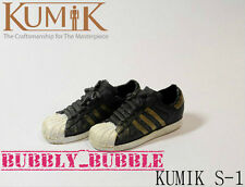 KUMIK 1/6 Female Sneakers Shoes Adidas Style S-1 BLACK GOLD Color SHIP FROM USA