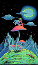 UV Backdrop Mushroom Fairy Wandbehang 2m x 1,2m Hippie Goa Tuch Space Tribe