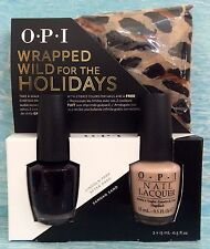 OPI WRAPPED WILD FOR THE HOLIDAYS Gift Set~Lincoln Park & Samoan Sand FREE Scarf