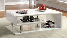 Ninove Contemporary White Gloss Lacquer Chrome Poles Occasional Coffee Table
