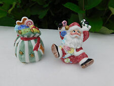 Fitz Floyd Sugar Plum Christmas Salt Pepper Shakers Santa Claus Gifts Presents