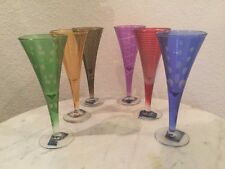"""Mikasa """"Cheers Mix"""" Set Of 6 Multicolor Cordial Glasses Made France Discontinued"""