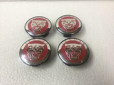 NEW JAGUAR JAG SET OF 4 PCS CENTER WHEEL WHEELS RIM RIMS CAP CAPS 59MM RED