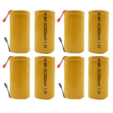 8PCS Sub C 2900mAh 1.2V Ni-MH Rechargeable Battery Tabs Power Tools RC Orange