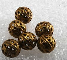 Vintage Filigree Balls Brass Metal Lot of 6 Beads Jewelry Making