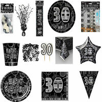 30th Black Glitz Birhtday Party Supplies Decorations Tableware 18 items Free P+P