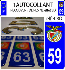 1 sticker plaque immatriculation auto DOMING 3D RESINE BENFICA PORTUGAL DEPA 59