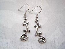 *SWIRL TAIL GECKO LIZARD* SP LONG DROP Earrings Tibetan Silver Aztec Reptile