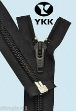 "24"" BLACK - #5 SEPARATING NYLON COIL COAT/JACKET ZIPPER 60mm/Heavy Duty/  YKK"