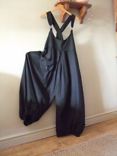 Lagenlook,balloon shaped overalls,dungarees in black ,pure heavy linen.size 8/10