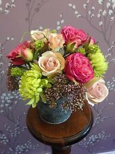 Artificial Silk Flowers Arrangement Pinks Cream Rose Large Bucket Shabby Chic