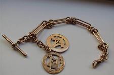 Vintage Masónica de 9 quilates de oro rosa Albert Reloj De Bolsillo Cadena Medalla Llavero Pulsera
