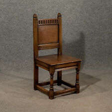 Antique Oak Hall Church Dining Side Chair English Victorian Ecclesiastical c1890