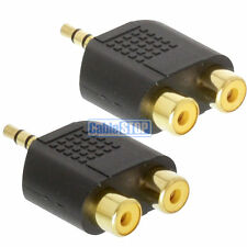 2 x 3.5MM AUX STEREO JACK MALE PLUG TO 2 X RCA PHONO AUDIO CONVERTER ADAPTER