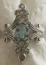 Art Deco Style 925 Sliver Aquamarine And Opal Ring Size 6.