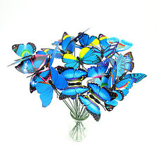 10pcs 3D Colorful Butterfly On Sticks Home Garden Vase Statues Lawn Ornament
