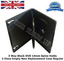100 x 3 Way Nero DVD DA 14 MM DORSO blocchi 3discs vuoto nuovo caso di sostituzione regolare