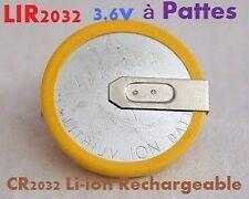 2 Piles Bouton CR2032 Li-ion Rechargeable 3.6V Lir2032 à pattes ou languettes