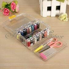 40PCS Sewing Kit Thread Threader Needle Tape Measure Scissor Thimble Box Bag