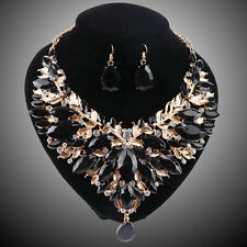 Women Gold Plated Black Rhinestone Crystal Pendant Necklace Earring Jewelry Sets