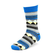 1 New Pair of Men's Blue Black Gray & Other Colors Funky Aztec Line Design Sock