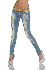 Women Jeans Skinny Straight Stretchable Faded Jeans with Belts UK Size 10 EU 38